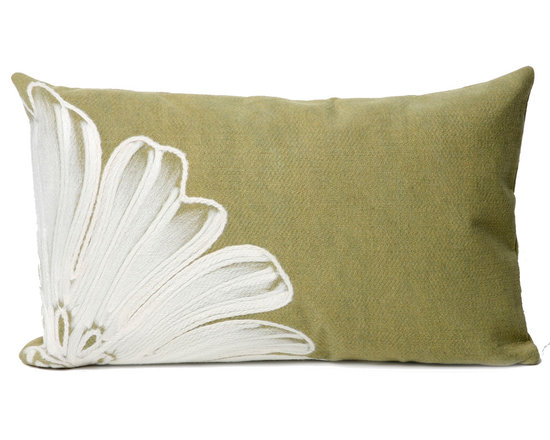 """Trans-Ocean Outdoor Pillows - Trans-Ocean Liora Manne Antique Medallion Green - 12"""" x 20"""" - Designer Liora Manne's newest line of toss pillows are made using a unique, patented Lamontage process combining handmade artistry with high tech processing. The 100% polyester microfibers are intricately structured by hand and then mechanically interlocked by needle-punching to create non-woven textiles that resemble felt. The 100% polyester microfiber results in an extra-soft hand with unsurpassed durability."""