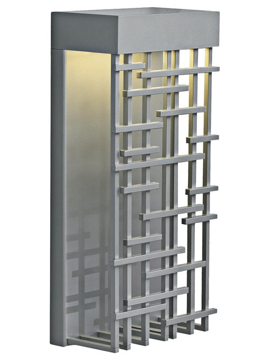 """LBL Lighting - Pier 60 Silver 14 1/2"""" High LED Outdoor Wall Light - Featuring an Asian-inspired grill with a smart geometric pattern this outdoor wall light is an exceptional addition to your outdoor space. With a silver finish this  clever design creates a delicate balance of light and shadow. This energy efficient LED light is suitable for wet locations. Silver finish. Wet location listed. Includes one 9.6 watt LED bulb. Light output 600 lumens. 2700K warm color temperature. 14 1/2"""" high. 9"""" wide.  Silver finish.   Wet location listed.   Includes one 9.6 watt LED bulb.   Light output 600 lumens.   California Title 24 compliant.  Comparable to a 50 watt incandescent bulb.  Color temperature 2700K.  14 1/2"""" high.  9"""" wide."""