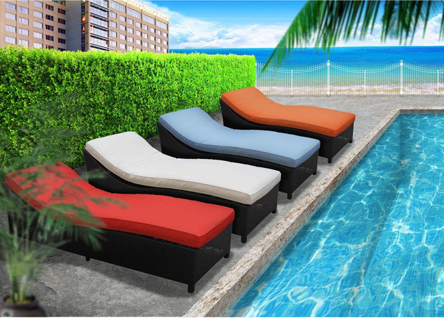 Surmount Outdoor Wicker Patio Chaise Lounge Set modern-outdoor-chaise-lounges