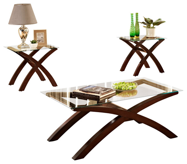 Standard furniture nexus 3 piece glass coffee table set with dark merlot base traditional One piece glass coffee table