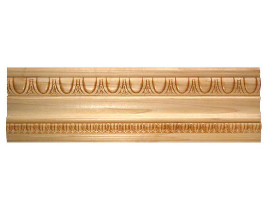 "Inviting Home - Marion crown molding - embossed wood crown molding 4-1/4""H x 3-1/2""P x 5-1/2""F x 8'00""L sold in 8 foot length (3 piece minimum required) Outstanding quality embossed crown molding profile milled from high grade kiln dried solid poplar hardwood. Decorative ornamental design crafted embossed under intense heat and pressure. Wood molding is sold unfinished and can be easily stained painted or glazed. The installation of the wood molding should be treated the same manner as you would treat any wood molding: all molding should be kept in a clean and dry environment away from excessive moisture. Acclimate wooden moldings for 5-7 days. When installing wood moldings it is recommended to nail molding securely to studs and glue all mitered corners for maximum support."