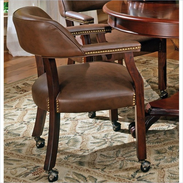 tournament box seat arm chair with casters contemporary dining chairs
