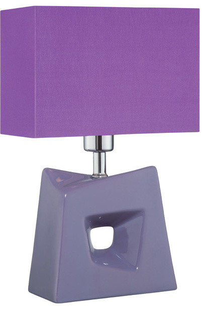 Table Lamp - Purple/Purple Fabric Shade traditional-table-lamps