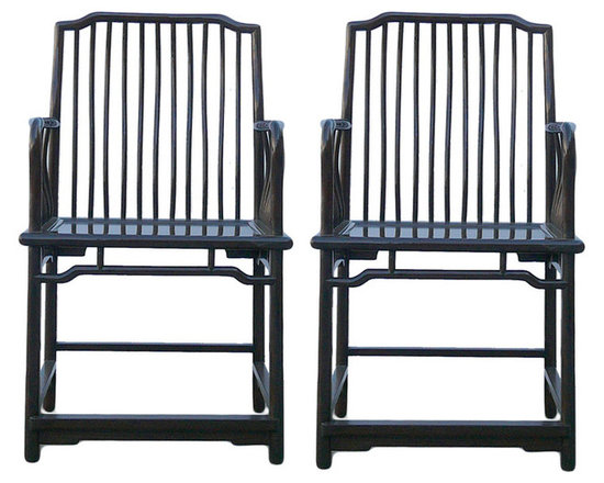 Pair Chinese Oriental Huali Dark Brown Armchairs - This is a decently handmade Chinese accent decorative armchair in rectangular shape. The back and armrest panel is in simple bar pattern. ( custom made cushion is included )