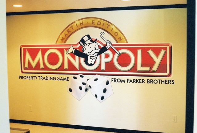 Monopoly Mural in Lower Level by Tom Taylor of Wow Effects eclectic-home-theater