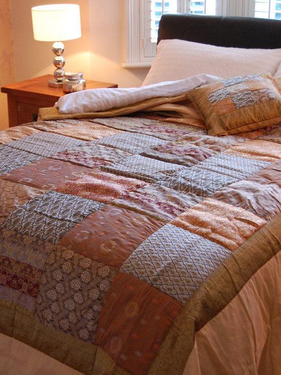 Antique Gold Sari Brocade Indian Quilt -