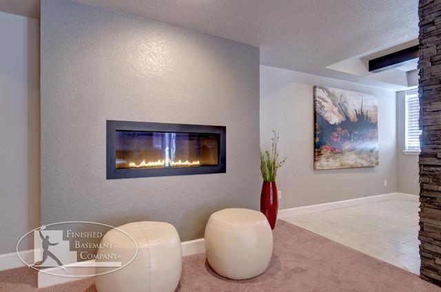 Basement Contemporary Fireplace contemporary-basement