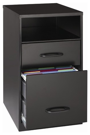 """18"""" Deep Two Drawer Organizer in Black modern-home-office-products"""