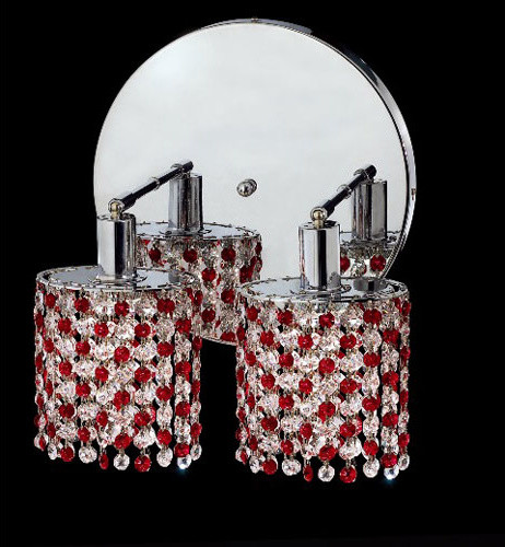 Mini Round Chrome Two-Light Bath Fixture with Royal Cut Bordeaux Red and Clear C contemporary-bathroom-vanity-lighting