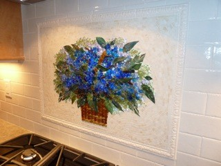 Basket of Blue Hydrangeas modern-kitchen