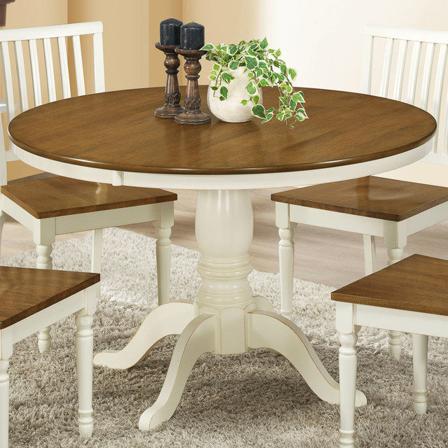 Antique White Oak Veneer 48in Dia Dining Table farmhouse dining tables