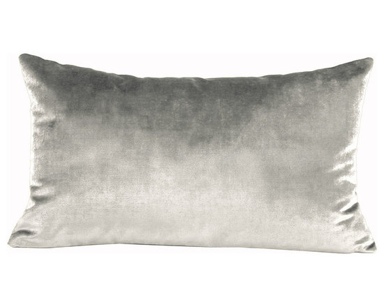 Yves Delorme - Iosis Berlingot Decorative Pillow, Argent, 22x22 - These sumptuous velvet pillows by Yves Delorme add gorgeous color and texture to any space. Decorative pillows feature a velvet front with a linen back and are filled with a feather down insert. Available in several colors and three different sizes. Made in France.Usually ships in 5-7 business days.