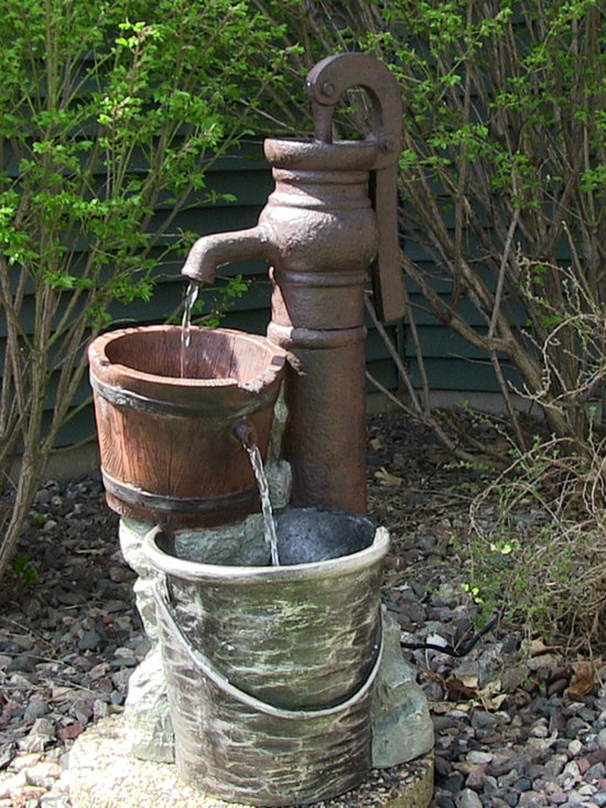 Outdoor Classics Pump with Pail Outdoor Water Fountain -