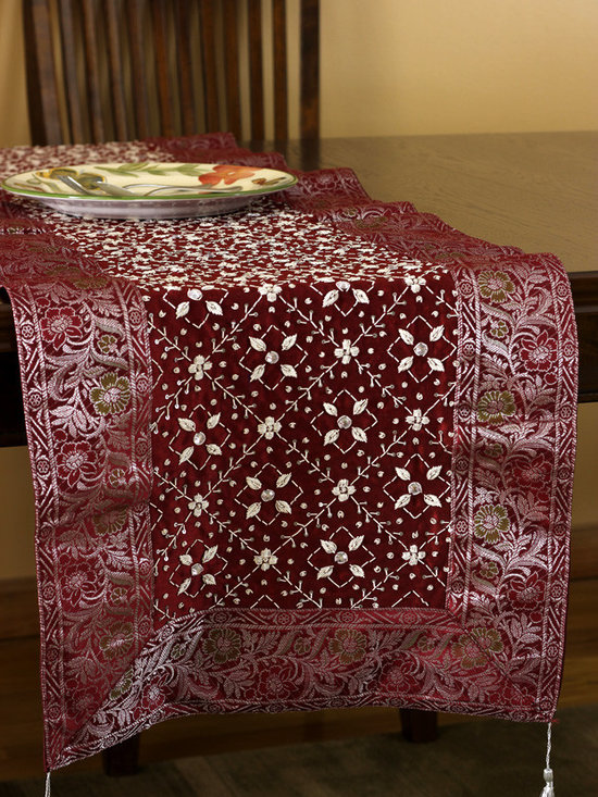 """Elegant Table Runners - Heavily hand crafted and sophisticated Saffron Red Table Runner. Made in India. """"Mystic Dabka"""" Exclusive from the Banarsi Collection."""