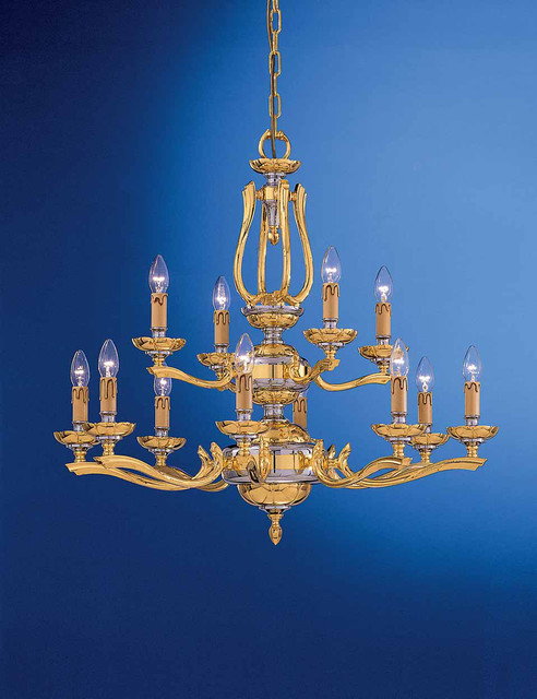 """Brass fixture gold plated with chrome """"For Ever"""" collection traditional-chandeliers"""