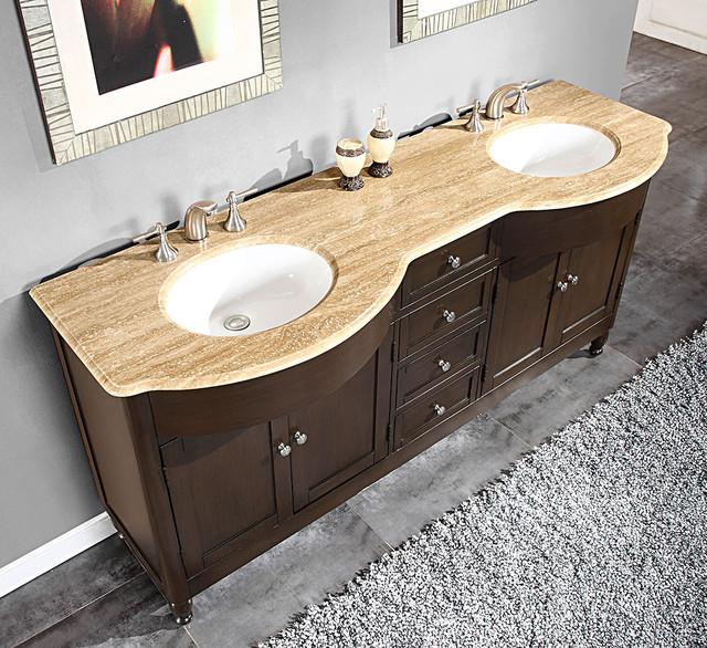 Silkroad Exclusive 72-inch Travertine Stone-top Double Sink Bathroom Vanity contemporary-bathroom-vanities-and-sink-consoles
