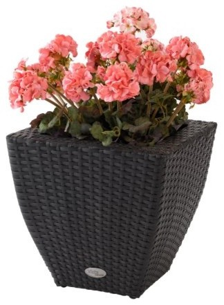 Curved Square Resin Wicker Vista Planter contemporary-outdoor-pots-and-planters