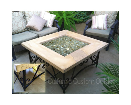 Architectural iron and concrete fire table -