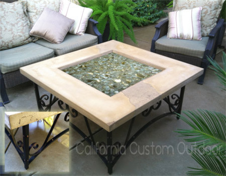 Architectural iron and concrete fire table mediterranean-fire-pits