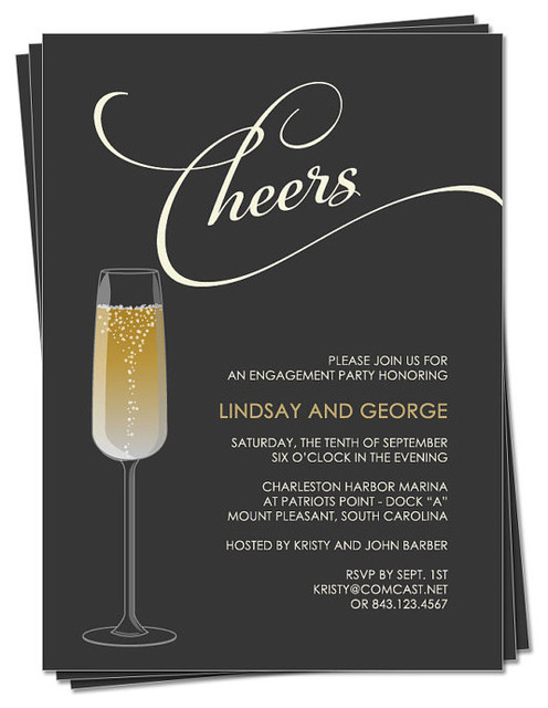 Champagne Party Invitation by M Press Ink modern accessories and decor