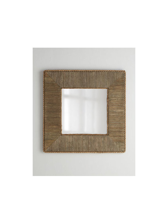 """Horchow - Basket Rope Mirror - Exclusively ours. Functional, decorative, and eco-friendly. This mirror has it all. Handcrafted of rattan woven over wood composite and mirrored glass. Abaca-rope trim. For use indoors or outdoors in a covered area. 38""""Sq. x 1""""D. Imported. Boxed..."""