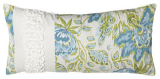 "Dena Home Pillow w/ White Ruffle Detail at One End, 24"" x 12"" traditional-decorative-pillows"