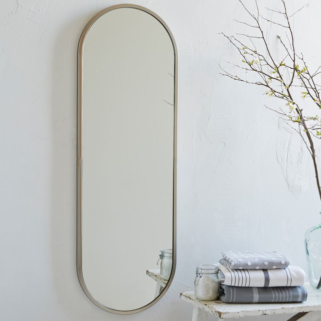 Metal oval floor mirror modern wall mirrors by for Wall length mirror