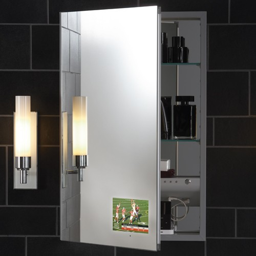 ... Flat Plain Mirror Cabinet with Integrated TV modern-medicine-cabinets