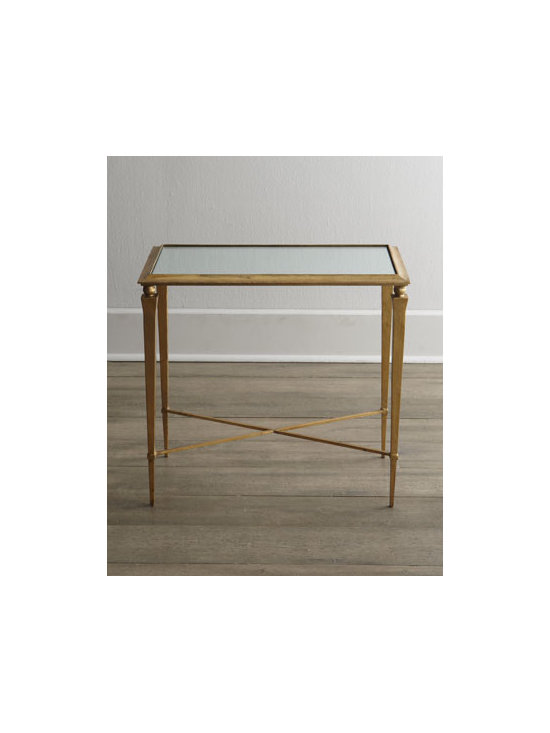 """Horchow - Reydon Side Table - Exquisite side table with mirrored top adds perfect transitional style to home or office decor. Handcrafted of iron and mirrored glass. Hand-painted antiqued gold-leaf finish. 26""""W x 15""""D x 24""""T. Imported. Boxed weight, approximately 36 lbs. Ple..."""