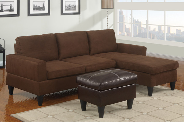 Small Chocolate Microfiber Sectional Sofas Reversible