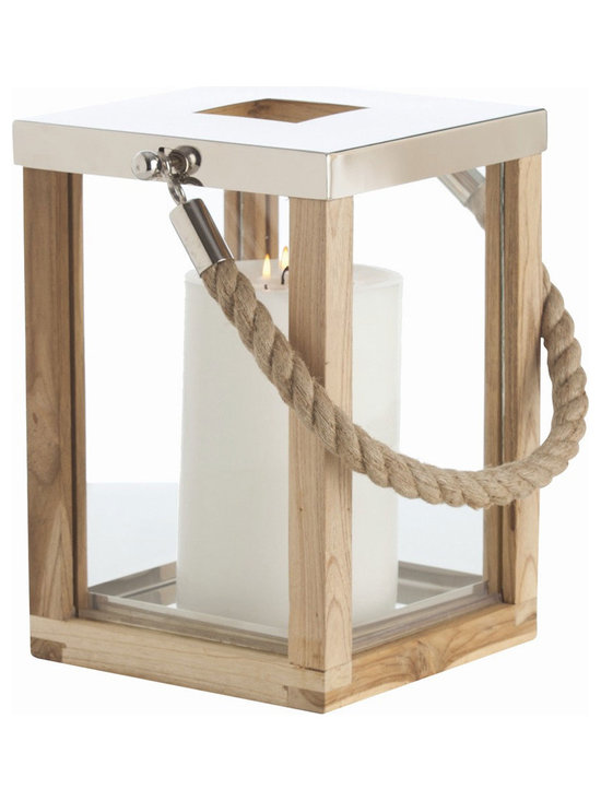 Arteriors Home - Tate Lantern - Tate is a nautical styled natural Teak wood and glass lantern with a rope handle and a removable top in Polished Nickel. Great for holding a pillar candle, corks, or any small item of your choice. Available in two sizes. Small: 9 inch width x 13 inch height x 9 inch depth. Large: 9.5 inch width x 27.5 inch height x 9.5 inch depth.