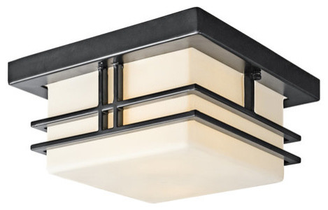 kichler 49206bk modern two light outdoor flush mount