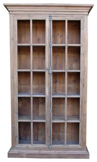 French Country Reclaimed Library Cabinet Vitrine traditional-storage-cabinets