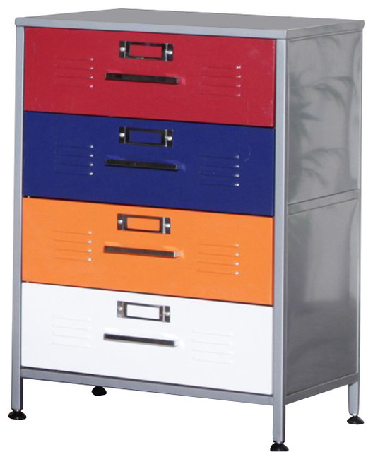 Elite Products Locker Multicolor 4-Drawer Dresser - Contemporary - Dressers - by Cymax