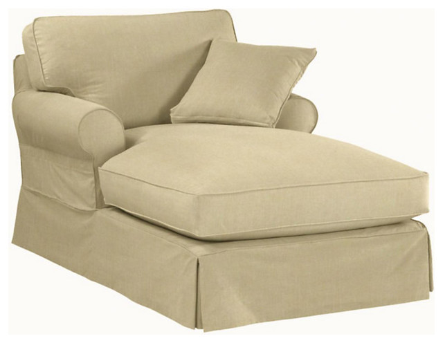 Suzanne kasler signature 13oz linen baldwin chaise for Chaise couch slipcover