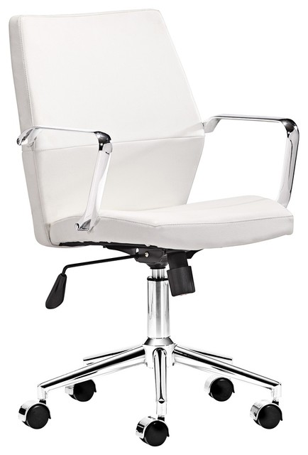 Zuo Holt Collection Low Back White Office Chair contemporary-office-chairs