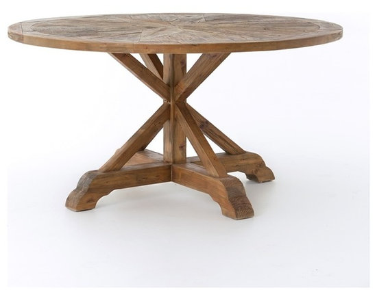 """Four Hands - Opio Round Dining Table 59"""" - Inspired by early American life, this table has a rugged charm that's just right for your home. It's hand-crafted from pine reclaimed from old buildings and then bleached, sanded and finished to put the wood's raw beauty in focus."""