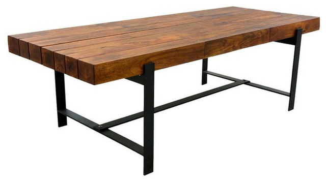 Industrial & Wood Modern Rustic Iron Base Factory Dining ...