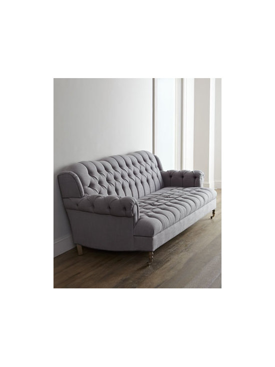 """Haute House - Haute House """"Malpensa"""" Sofa - Exclusively ours. A curvy back, rolled arms, deep tufting, and classic gray upholstery give this sofa show-stopping appeal. Handcrafted. Alder wood frame. Linen upholstery. Hand-painted finish. Finished back. 95""""W x 41.5""""D x 33.5""""T. Imported. ...."""