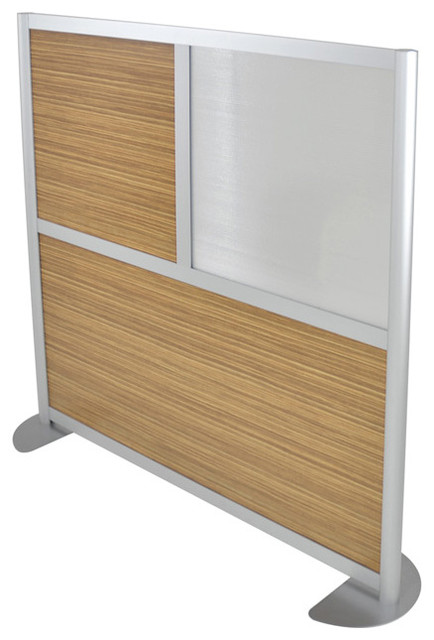 6 Ft Tall Solid Frame Fabric Room Divider 4 Panels: Loft Wall Low Height Room Partition LW42LH