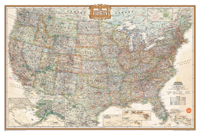 National Geographic Usa Map Wall Decal Contemporary