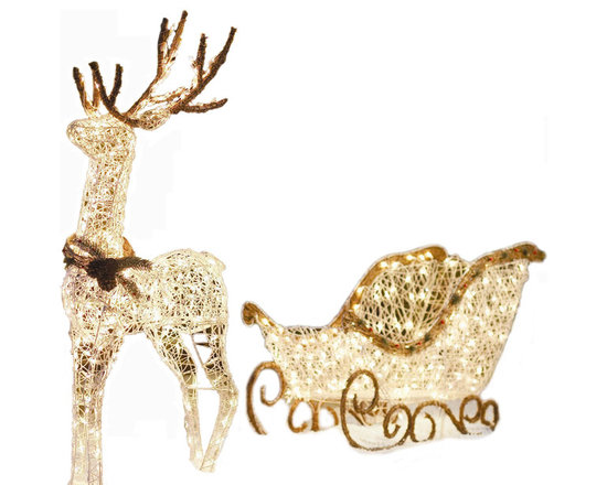 Home Accents Holiday 60in Reindeer with 42in Sleigh -