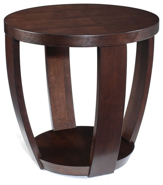Magnussen T1579 Sotto Wood Round End Table Modern Side