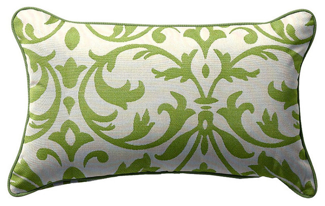 Outdoor Lumbar Pillow in Sunbrella Softly Elegant Green - Traditional - Outdoor Cushions And Pillows