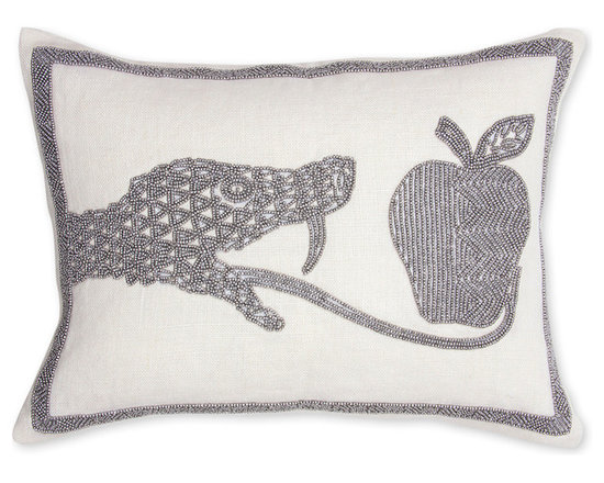 Snake Beaded Linen Pillow -