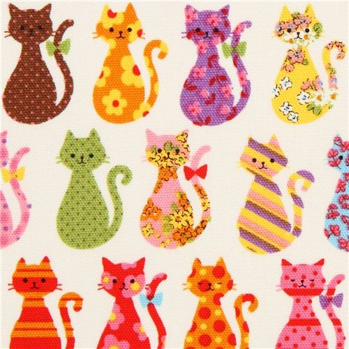 off-white cat oxford fabric by Kokka from Japan - Fabric - by ModeS ...