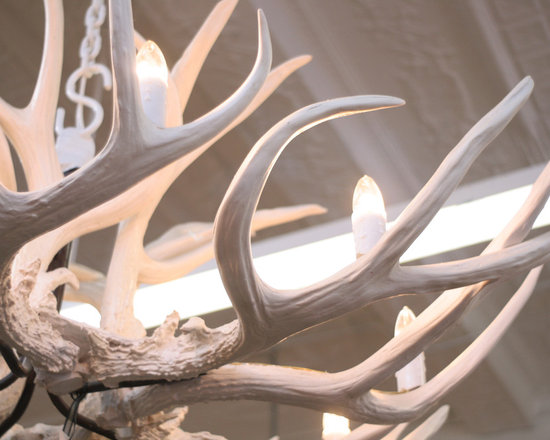 Lighting - Resin white antler chandelier
