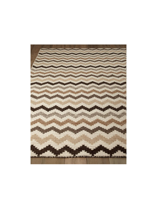 Horchow - Chevron Stripe Rug - With its fashion-forward design in neutral and earth-tone hues, this reversible flatweave rug adds a sense of casual comfort and organic sensibility to any room. Handwoven of wool. Sizes are approximate. Imported. See our Rug Guide for tips on h...