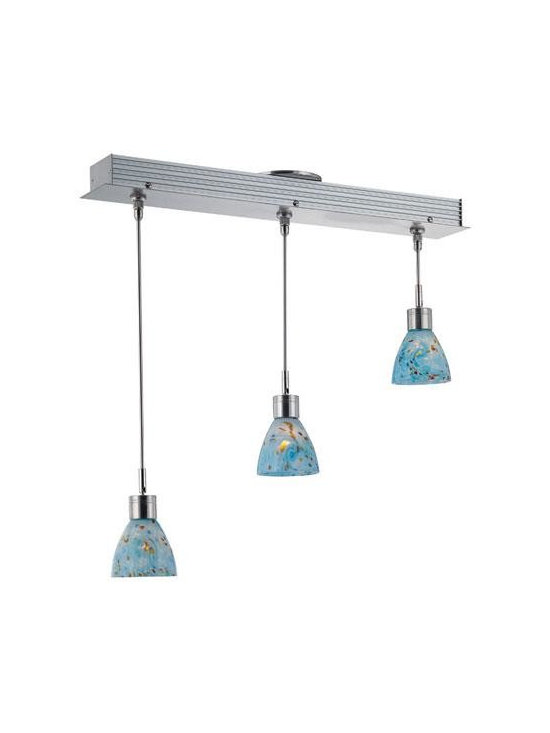 Joshua Marshal - Polished Steel Aqua Multi Light Pendant From The Cantina Collection - Finish: Polished Steel