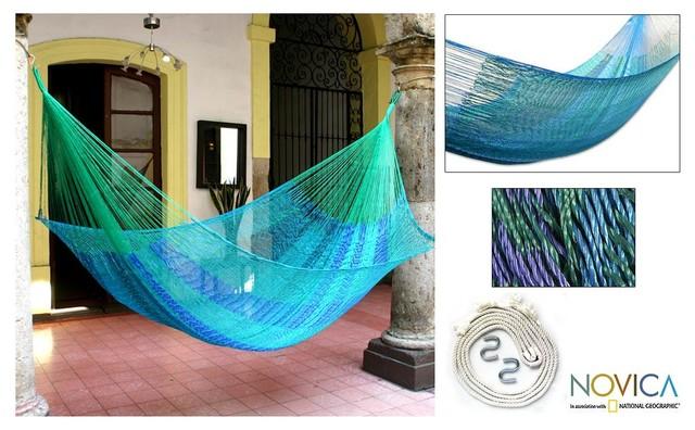 Hand-woven Large Deluxe Cool Lagoon Hammock (Mexico) contemporary-hammocks